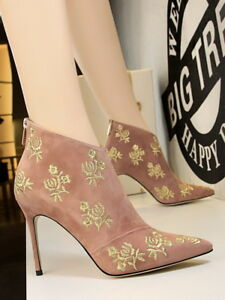 Women-Embroidery-Pointy-toe-Ankle-Boots-Suede-Slim-High-Heel-Shoes-Stiletto-Pump