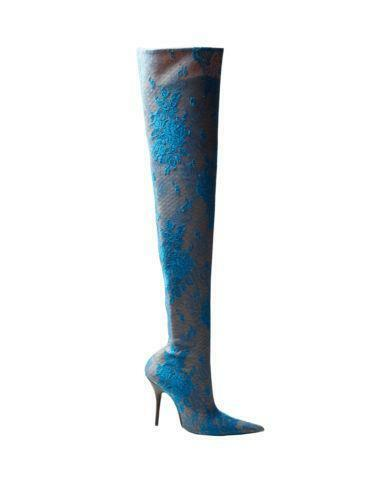 Women Over Knee Thigh High Boots Pointy Toe High Heel Heel Heel Velvet Lace shoes Sexy U83 a396d7