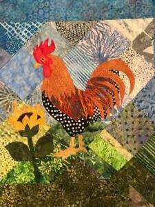 Handcrafted & Finished Mini Quilt -Batik Mini Art Quilt~Rooster/textile