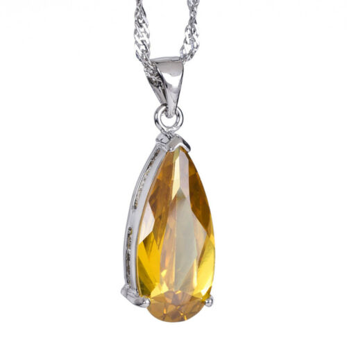 Pear Cut Yellow Citrine 18K White Gold Gp Rhinestone Pendant Free Jewelry Pouch