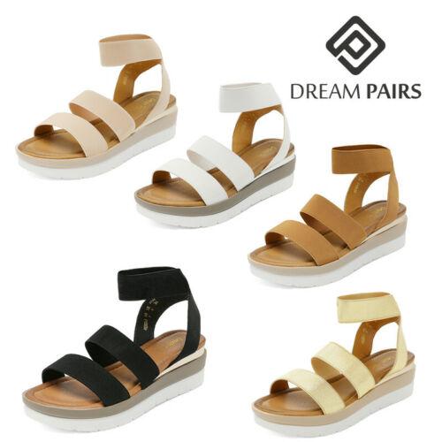 DREAM PAIRS Women/'s Platform Wedge Sandals Elastic Ankle Strap Open Toe Shoes
