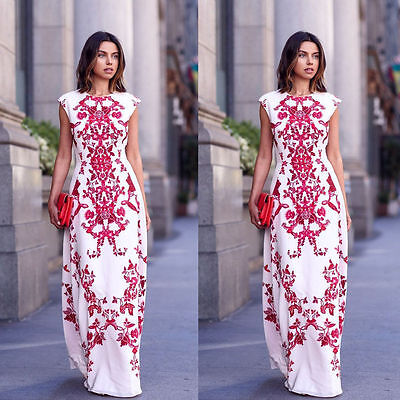 Retor Women Summer Sexy Long Maxi BOHO Floral Evening Party Dress Beach Sundress