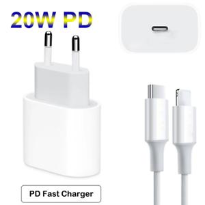 PD 20W QC3.0 Cargador Rápido Adaptor de carga USB-C Para iPhone 12 con cable EU