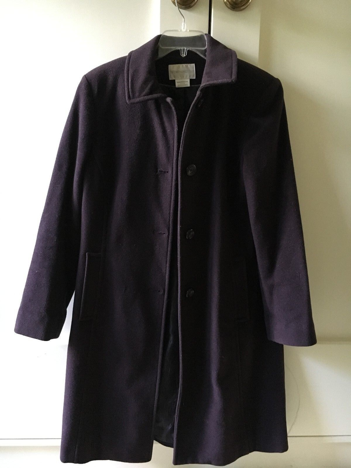 Worthington Plum Women Warm Coat 80% Wool SIZE M Winter Formal Stylish