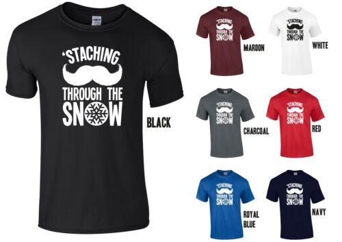 Staching dans la neige t-shirt-drôle blague noël santa moustache cadeau