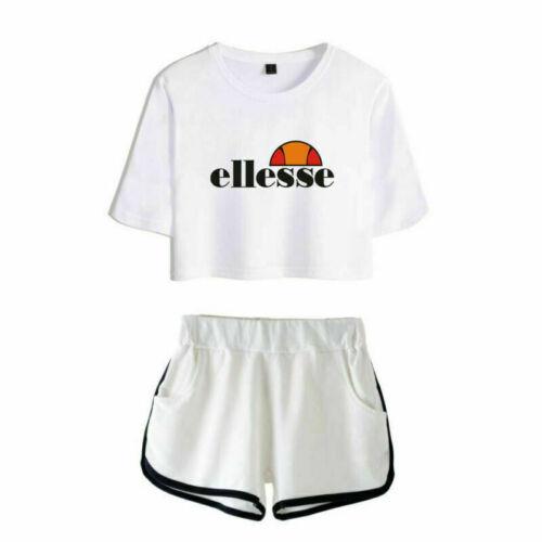 2Pcs Womens Fashion Printed Crop Top T-shirt+Shorts Loungewear Co Set Outfits UK