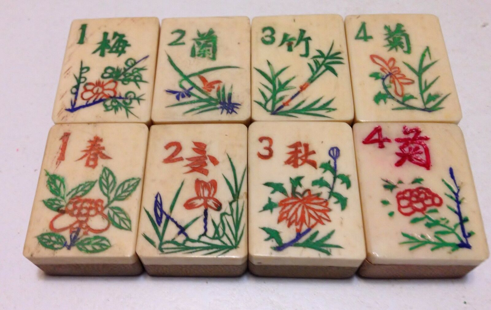 One set of 8 Tiles -Bone Bamboo - MahJong - 1920s  - 8 Tile Set4