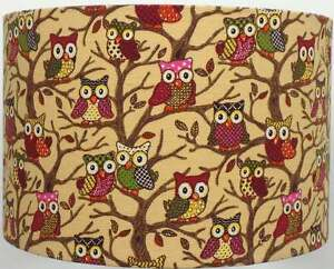 Beige-Forest-Owls-Canvas-Style-Lampshade-Ceiling-Light-Table-Lamp-NEW-2016