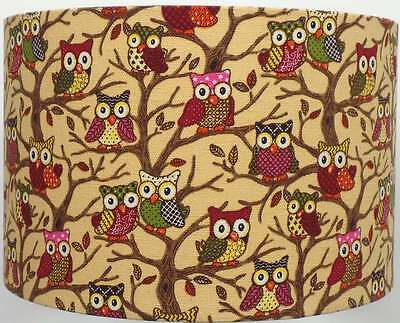 Beige Forest Owls Canvas Style Lampshade, Ceiling Light / Table Lamp  NEW  2016