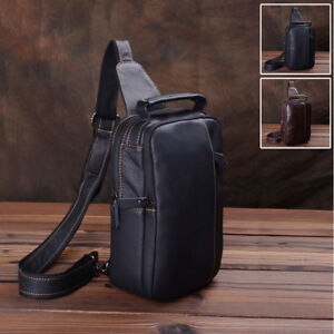 Men-039-s-Real-Leather-Sling-Backpack-Chest-Pack-Single-Strap-Shoulder-Daypack-Bag