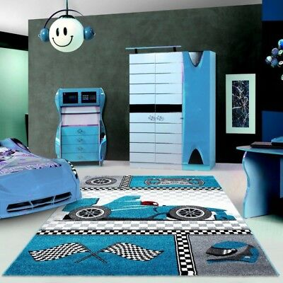 Kids Car Rug Boys Bedroom Play Room Mat Childrens Carpet Mats Small Large  Blue | eBay