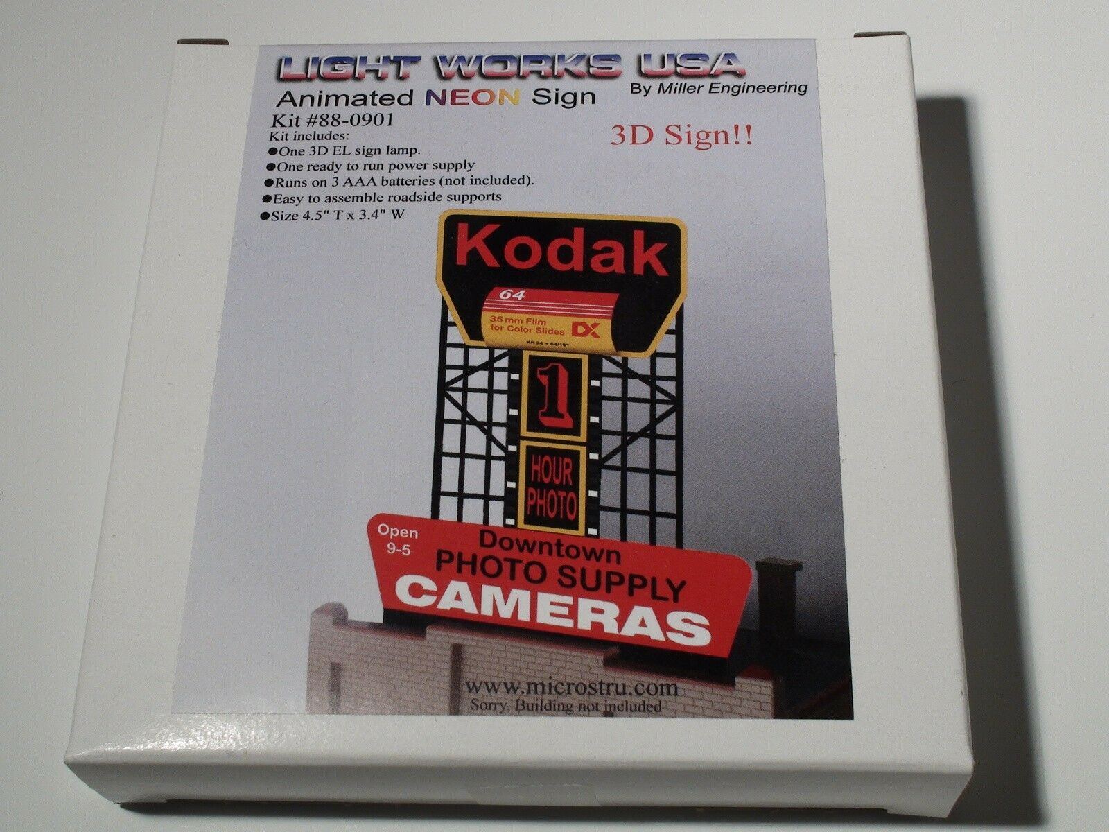 MILLER ENGINEERING KODAK BILLBOARD LIGHT WORKS USA 3D SIGN