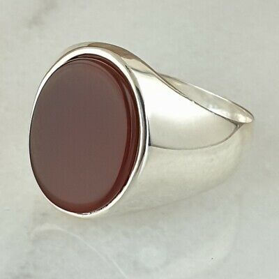 Solid 925 Sterling Silver Signet Red Agate Gemstone  Men Ring  Turkish Ottoman