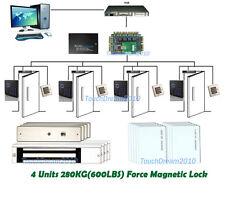 Password+RFID Proximity Door Entry Access Control System 4 Doors+600LBS Mag Lock