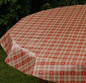 """55x98/"""" 1.4x2.5M OVAL PVC//VINYL TABLECLOTH RED HEARTS WITH PARASOL HOLE"""