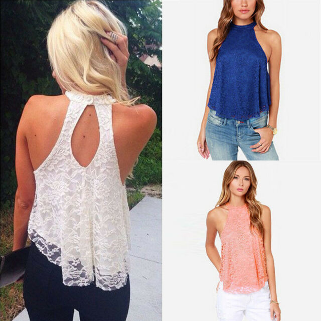Sexy Women Summer Casual Sleeveless Shirt Lace Loose Vest Top Blouse
