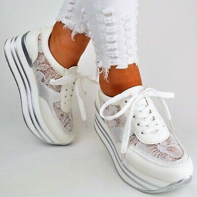 Damen Schuhe Sneaker Weiß Plateau Spitze Glitzer Sommer Sport Freizeit Keilabsat | eBay