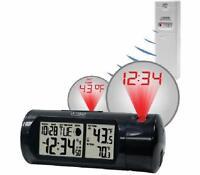 La Crosse Atomic Projection Alarm Clock Inside And Outside Temperature Black