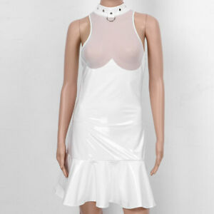 Women-039-s-Wet-Look-Patent-Leather-Sexy-Bodycon-Mini-Dress-Club-Party-Short-Dress