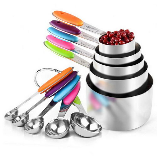 Soft Grip Measuring Cups and Spoons Set of 10 Stainless Steel Chef U