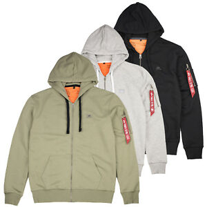 Details about Alpha Industries Zip Hoody Hoodie X Fit Hood Sweater S M L XL XXL 3XL
