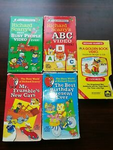 Richard-Scarry-Lot-of-5-VHS-Tapes-Best-ABC-Video-Ever-Mr-Frumble-039-s-New-Car