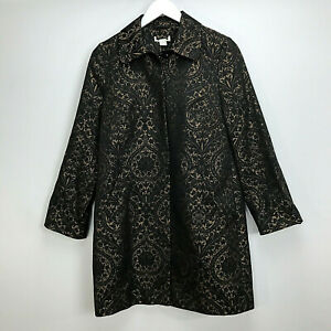 Monsoon-Opera-Coat-UK-Size-10-Black-Gold-Embroidered-Patterned-Womens-Button