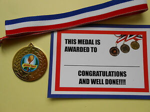 WOODEN SPOON MEDALS - METAL - 50MM - GOLD -SILVER OR BRONZE WITH CERTIFICATE