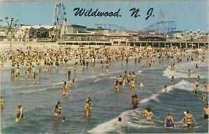 Postcard-NJ-Beach-and-Amusement-Park-Scene-at-Wildwood-Used-Posted