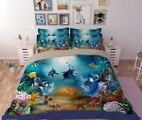 Twin & Queen Size Mermaid & Dolphins Underwater Ocean Duvet Cover Bedding Set