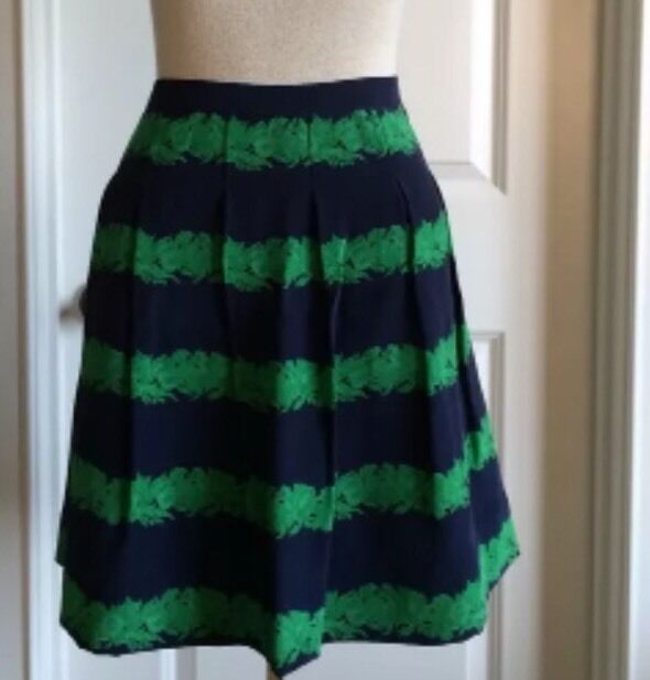 J.Crew Navy Green 100% Silk Floral Pleated Lined Full Skirt Sz 00