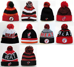 Miami-Heat-Pom-Top-Cuffed-Beanie-Knit-Winter-Cap-Hat-NBA-Authentic