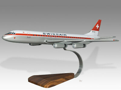 100% Quality Douglas Dc-8 Swissair Solid Kiln Dry Wood Handcrafted Airplane Desktop Model Fine Craftsmanship