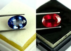 Lustrous Blue Sapphire & Ruby Gemstone Pair Oval Natural 11-13 Ct AGI Certified