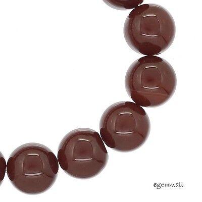 "17 Red Carnelian Round Beads 12 - 12.5mm 7.6"" #54126"