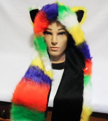 Faux Fur Hat Rainbow Animal Hoodie with Scarfs /& Mitten Furwolf head /& ears