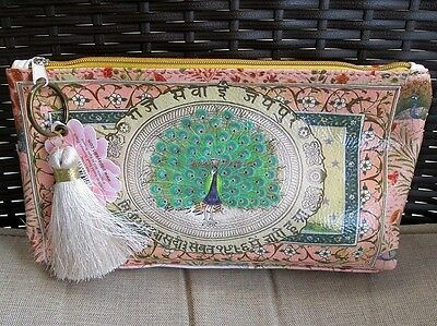 Starlet Peacock Papaya Art Vegan Fashion Art Makeup Cosmetic Pouch Bag Tassel