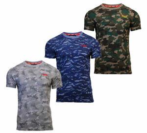 Cuello-redondo-para-hombre-Superdry-Orange-Label-Camiseta-Manga-Corta-Camo-Caqui-Azul-Gris