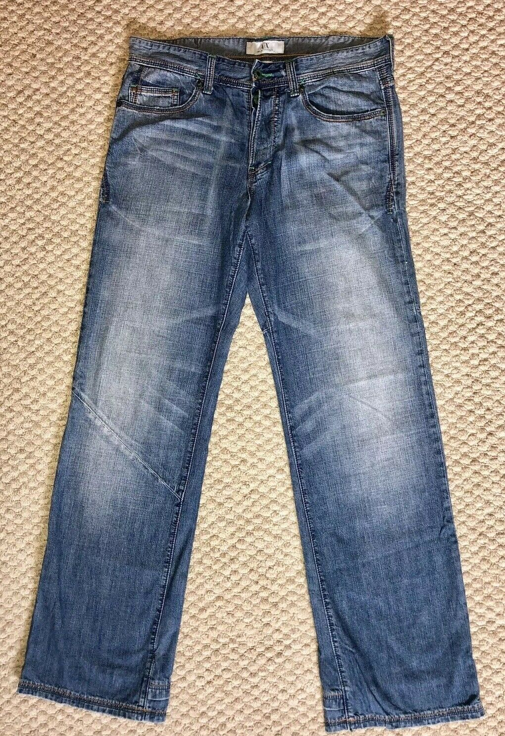 Armani Exchange 34 X 33 Men's Designer Button Fly Jeans Used MSRP