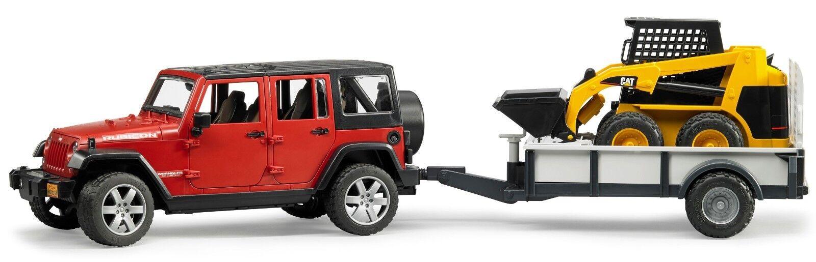 Bruder Toys JEEP Wrangler Unlimited Rubicon w  Trailer & CAT skid steer loader