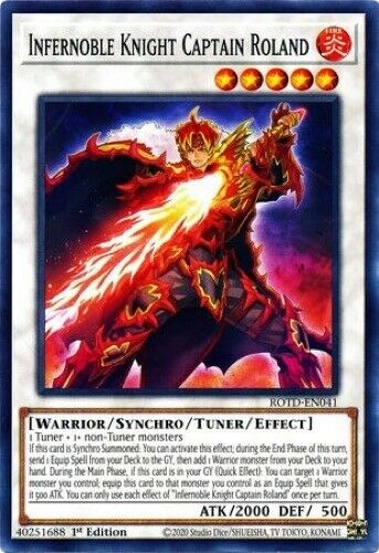 3 x Infernoble Knight Captain Roland - Common ROTD-EN041 1st Edition