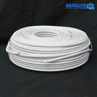 20m White RG6 Satellite Freesat Digital TV Aerial Coax Cable Coaxial Lead wire