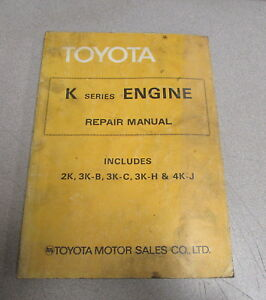 1978 toyota k series engine service repair manual 2k 3k b 3k c 3k h rh ebay com Toyota Racing Engines Toyota 4K
