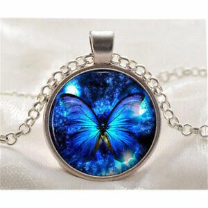 Damen-Anhaenger-mit-Kette-Silber-Blau-Schmetterling-Cabochon-Halskette-Vintage