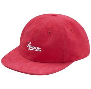 36cc9b8bb25 Details about SUPREME Brushed Twill Script 6 Panel Black Red box logo camp  cap tnf F W 17