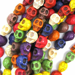 Skull Synthetic Turquoise Hot Pink Beads 10mm x 35 Pieces Halloween