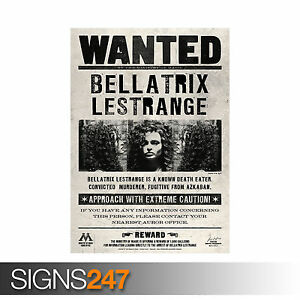 graphic about Harry Potter Wanted Posters Printable titled HARRY POTTER BELLATRIX LESTRANGE Wished-for (1240) Poster Print
