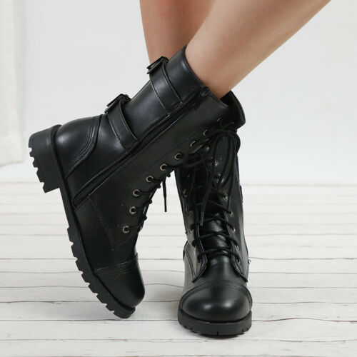 Womens Lace Up Martin Boots Mid Calf Leather Combat Military Punk Shoes Size 10