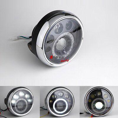 """Cafe Racer Bobber Custom LED Motorcycle Headlight 7"""" Honda CB Classic Side Mount"""