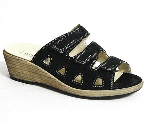 Bosque alfil hamida sandalias señoras negro de cuero 581-yai166-001